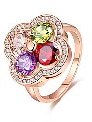 Dame Ring Multi-sten Yndig Elegant Blomstret Kvadratisk Zirconium Blomstformet Smykker TilBryllup Fest & Aften Forlovelse Ceremoni