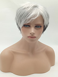 Fashion Straight Black To White Color Synthetic Wig Cosplay Wigs