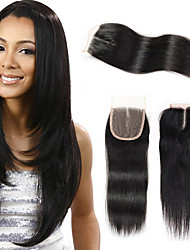 cheap -Brazilian Straight Wave 4*4 Swiss Lace Closure Remy Human Hair 3 Kind of Style For Beauty Lady Color 1B