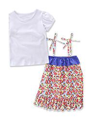 Девочки Наборы Хлопок Полиэстер Мода Цветок Лето С короткими рукавами Набор одежды