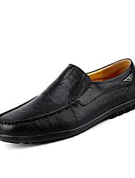 preiswerte -Herrn Schuhe Leder Frühling / Herbst Komfort Loafers & Slip-Ons Schwarz / Gelb / Dunkelbraun