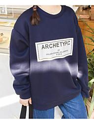 Sweatshirt Femme Grandes Tailles Décontracté Décontracté Couleur Pleine Couleur unie Col Arrondi Doublure Amovible strenchy CotonManches