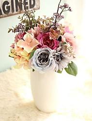 abordables -1 Une succursale Polyester Roses Hortensias Fleur de Table Fleurs artificielles