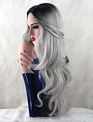 Long Gray Body Wave Capless Wig with Dark Root Fashion Popular Synthetic Hair Cosplay Party Hairstyle Heat Resistant