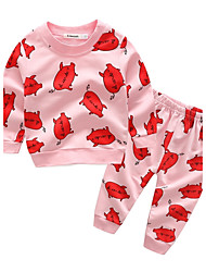 Baby Kids' Cotton Going out Casual/Daily Holiday Animal Print Cartoon Clothing Set,Cartoon Spring Fall/Autumn