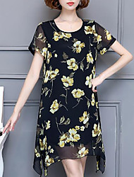 Women's Plus Size Casual/Daily Simple Chiffon Dress,Floral Round Neck Above Knee Short Sleeve Polyester Summer Mid Rise Inelastic Medium