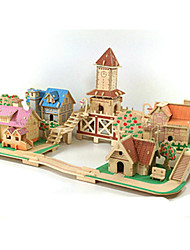 cheap -3D Puzzle Jigsaw Puzzle Wood Model Model Building Kit Famous buildings House DIY Wood Classic Romantic Unisex Gift