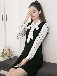 Women's Casual/Daily A Line Dress,Solid Shirt Collar Knee-length Long Sleeve Polyester 100%Cotton Summer Mid Rise Micro-elastic Medium