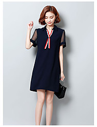 cheap -Women's Daily Going out Cute Sexy Chinoiserie A Line Loose Sheath Dress,Solid Round Neck Above Knee Short Sleeves Cotton Linen Spring