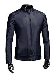 Men's Casual/Daily Vintage Fall Winter Leather Jacket,Solid Stand Long Sleeve Short PU