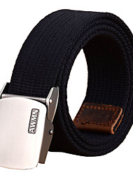 Men's Alloy Waist Belt Casual/Business Solid Pure Color Cotton Canvas Belt Light Grey/Black/Red/Army Green