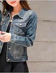 Giacca di jeans Da donna Quotidiano Contemporaneo Primavera,Tinta unita Colletto Cotone Altro Corto Manica lunga