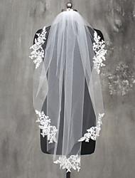 Véus de Noiva Uma Camada Véu Ombro Véu Ponta dos Dedos Borda com aplicação de Renda Renda Tule