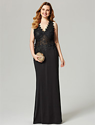 cheap -Sheath / Column V Neck Floor Length Lace Jersey Prom / Formal Evening Dress with Appliques by TS Couture®