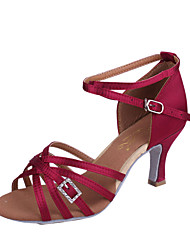 cheap -Women's Latin Shoes Silk Sandal Rhinestone Flared Heel Dance Shoes Purple / Brown / Blue / Indoor