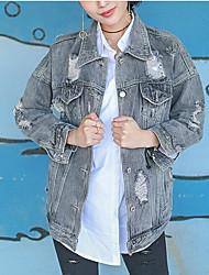 Giacca di jeans Da donna Quotidiano Contemporaneo Estate,Tinta unita Colletto Cotone Altro Standard Manica lunga