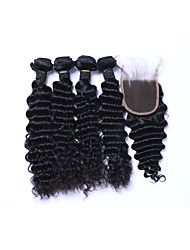 cheap -4Bundles 400g Brazilian Deep Wave Remy Human Hair Wefts with 1Pcs Free Part 4x4 Lace Top Closures 100% Unprocessed Natural Black Human Hair Extensions