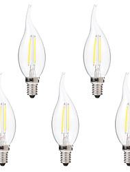 Недорогие -BRELONG® 5 шт. 2W 200lm E14 LED лампы накаливания C35 2 Светодиодные бусины COB Диммируемая Тёплый белый Белый 220-240V
