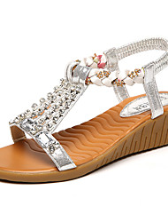 Women's Sandals Rustic Fashion Spring Summer PU Party/Evening Daily Going out Buckle Flat Heel Gold Silver 1in-1 3/4in