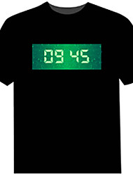 cheap -Light Up LED T-shirts T-Clock Time Display Cotton Novelty 4 AAA Batteries