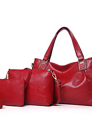 cheap -Women Bags Other Leather Type Bag Set 3 Pcs Purse Set for All Seasons Blue Black Red Blushing Pink