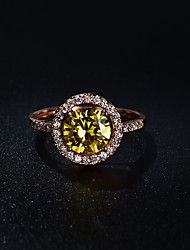 Women's Ring Citrine Circular Vintage Elegant Synthetic Gemstones Cubic Zirconia Round Jewelry For Wedding Anniversary Party/Evening