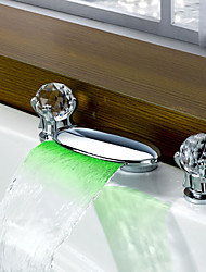 Contemporary Modern Style LED Widespread Waterfall Double Handles Three Holes for  Chrome  Bathroom Basin Sink Faucet