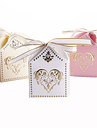 cheap -Cubic Card Paper Favor Holder with Ribbons Favor Boxes Gift Boxes - 25