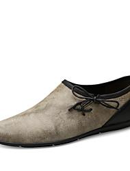 cheap -Men's Cowhide Summer / Fall Comfort Loafers & Slip-Ons Walking Shoes Gray / Khaki