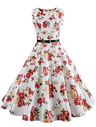 billige -Dame Vintage Gade Swing Kjole - Blomstret, Vintage Stil Knælang Hvid