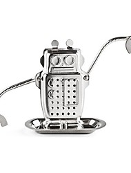 1Pc  Robot Shape  Tea Bags Stainless Steel Metallic Texture Tea Infuser