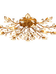 LightMyself 15 Lights Antique Brass Modern Crystal Ceiling Lamp Indoors Lights for Living Room Bedroom Dining Room