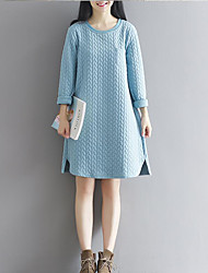Women's Going out Loose Dress,Solid Round Neck Knee-length Long Sleeves Knit Spring Mid Rise Micro-elastic Thick