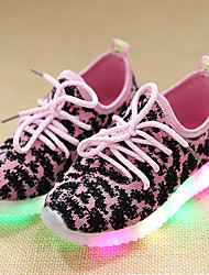 Girls' Sneakers Light Up Shoes Spring Summer Fall Leather Tulle Walking Shoes Casual Outdoor Lace-up LED Low Heel Black Green Blushing