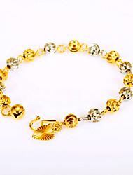 cheap -Luxury Mixed Two Color Gold and Silver Lucky Beads Chain Bracelet Fashion Vintage Jewelry