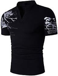 abordables -Hombre Estampado - Algodón Camiseta, Escote Chino