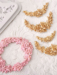 Rose Flower Garland Silicone Mold Border Jewelry Wedding Fondant Cake Decorating Tools Stencil Cupcake Mold Random Color