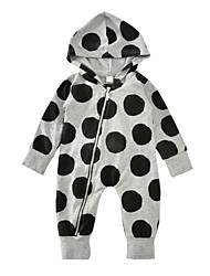 Baby Kids Polka Dots One-Pieces,Cotton Winter Spring/Fall Dot Long Sleeve Gray