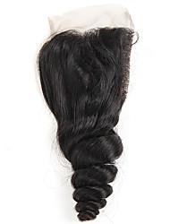 abordables -brasileño cabello humano onda suelta cierre de encaje blanqueado nudos 4x4 pulgadas cabello humano cierre cabello natural con cabello de