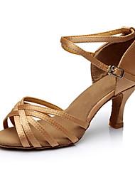 Women's Latin Silk Sandals Indoor Customized Heel Nude Customizable