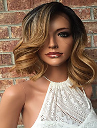 cheap -Human Hair Lace Front Wig / Glueless Lace Front Wig Body Wave 130% Density Ombre Hair / Natural Hairline / African American Wig Women's Short / Medium Length / Long Human Hair Lace Wig