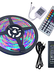 abordables -Hkv® 5m imperméable à l'eau 3528 rgb 300led rgb strip light 44key ir télécommande 5a alimentation ca 100-240v