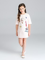 Girl's Print Dress,Cotton Spandex Summer Short Sleeve