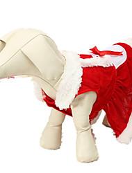 baratos -Cachorro Fantasias Roupas para Cães Sólido Vermelho Náilon Chinês Ocasiões Especiais Para animais de estimação Natal