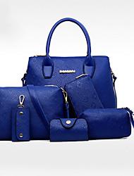 economico -Donna Sacchetti PU (Poliuretano) Tote Set di borsa da 6 pezzi per Casual Per tutte le stagioni Blu Oro Bianco Nero