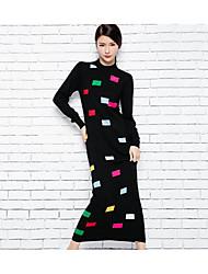Недорогие -Для женщин На каждый день Простое Трикотаж Платье Однотонный С принтом,Круглый вырез Макси Длинный рукав Шерсть ОсеньСо стандартной