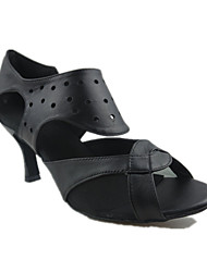 """cheap -Women's Latin Real Leather Sandal Performance Sided Hollow Out Stiletto Heel Black 3"""" - 3 3/4"""" Customizable"""