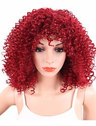 economico -Donna Parrucche sintetiche Senza tappo Pantaloncini Riccio Afro Rosso Parrucca riccia stile afro Per donne di colore Parrucca naturale