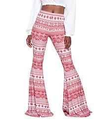 abordables -Mujer Boho Tiro Alto Corte Ancho Ajustado a la Bota Chinos Pantalones Estampado