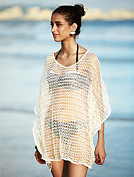 Women's V Neck Bat Sleeve Loose Beach Cover-Up Solid Mesh Lace Polyester Beige